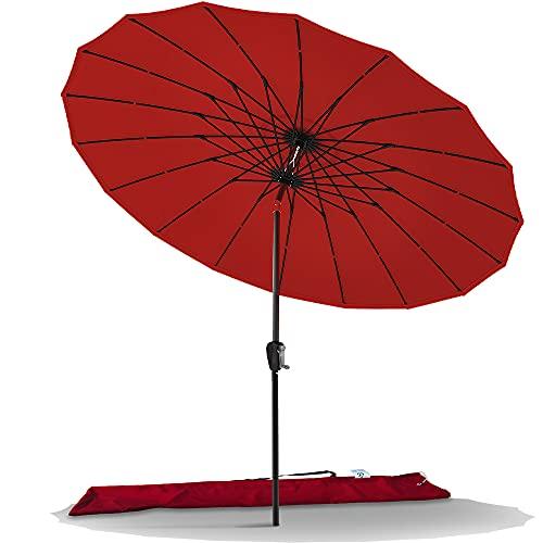 VOUNOT Shanghai Sonnenschirm 270 cm Rund mit Kurbelvorrichtung, Knickbar, Sonnenschutz UV-Schutz, Balkonschirm Gartenschirm Marktschirm mit Schutzhülle, Rot