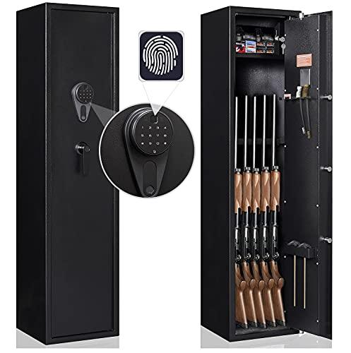 Gun Safe, Biometric Alarm Rifle Safe, Gun Safes for Rifles and Shotguns Pistols, Steel Safe, Black