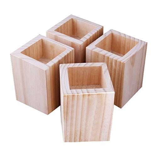Betterhöhung aus Massivholz, quadratische Möbelheber, 4 Packungen Holz, Rillen-Erhöhung – Tischerhöhungen zum Anheben von Sofa-Beinen (Größe: D)