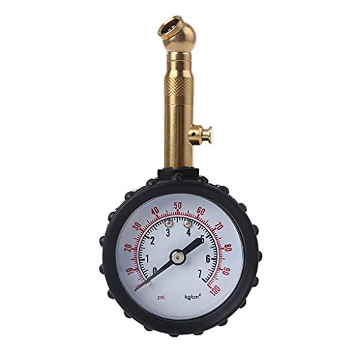 Meipai 0-100 PSI medidor de presión de neumáticos de Manguera de Goma, Instrumento de presión Tipo dial, Apto para neumáticos de camión de Motocicleta