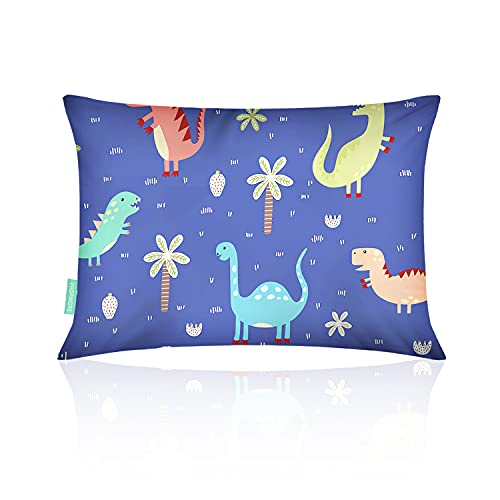 VHOPMORE Baby Toddler Pillow with Pillowcase, Toddler's Flat Pillow for Sleeping - 12X18 Soft Hypoallergenic Organic Cotton, Machine Washable, Infant Kids Pillow for Travel, Daycare, Cribs - Dinosaur