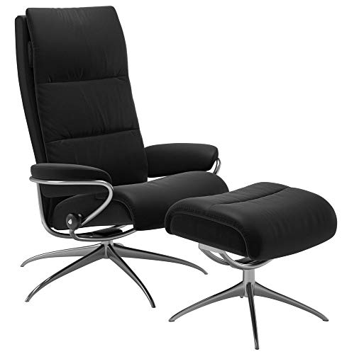 Ekornes Stressless Sessel mit Hocker Tokyo Leder Batick schwarz, high Back standart Base Alu