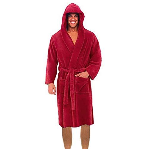 AAJIA Winter Roben Herren Winter Plüsch verlängerten Schal Bademantel Home Kleidung Langarm Robe Mantel Herren Robe, N, S.