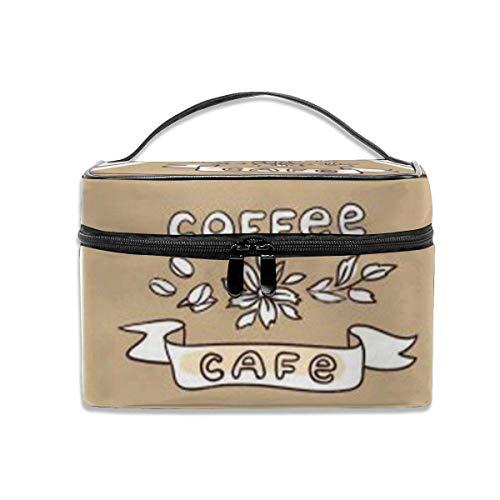 Belle Illustration vectorielle dessinée à la Main Café et Bonbons Maquillage Cas Cosmetic Case Organizer Portable-F0Q-5H