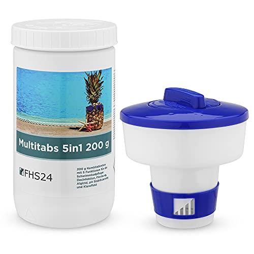 FHS24 Spar Set 6 MultiTabs 200g 1kg 5in1 Dosierschwimmer Multitabs Pool Set Wasserpflege Chlor Wasserdesinfektion
