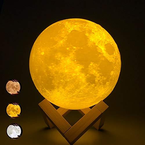 ACED LED Lampada luna con controllo tattile Lampada da tavolo per decorazione camera da letto a 3 colori dimmerabile, regali creativi per anniversario di coppia, compleanno per bambini Natale, 15CM