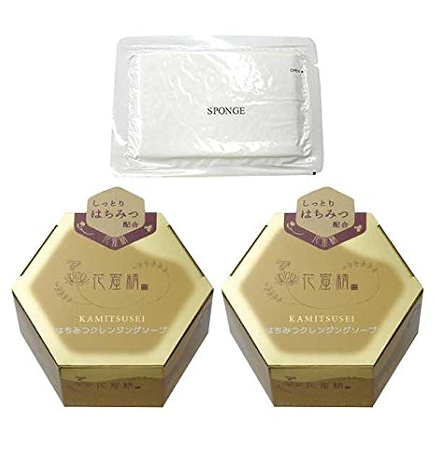 ねばねば差別的圧倒する花蜜精 はちみつクレンジングソープ 85g 2個 + 圧縮スポンジセット