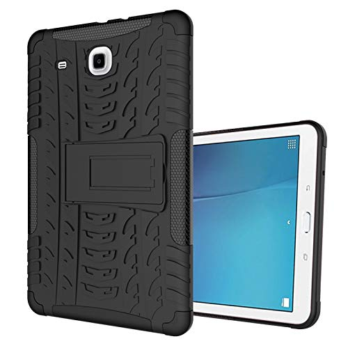 Tablet Protective Case Tablet Cover for Samsung Galaxy Tab E 9.6 inch/T560 Tire Texture Shockproof TPU+PC Protective Case with Folding Handle Stand (Color : Black)