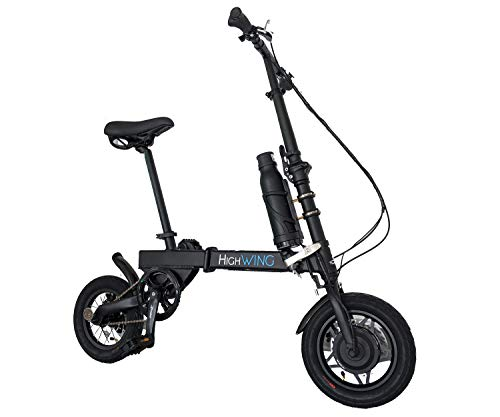 Aluminum Folding EBike with Pedals, Power Assist, and Bafang Motor 36V 250Wh, Sanyo Lithium Ion Battery; Electric Bike with 12 inch Wheels (Black)