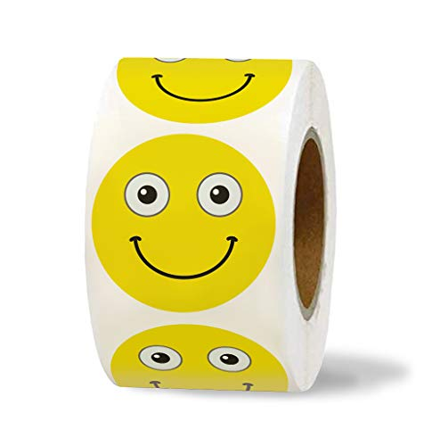 """1,4"""" Smiley Face Stickers 200 in Roll - Emoji Stickers - Smile Stickers - Happy Smile Emojis Labels - Yellow Smily Emotion Sticker - Motivational Reward Stickers for Kids and Teachers"""