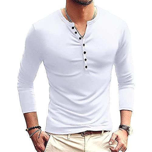 JPDD Men's Long Sleeve Running Gym Tee Tops T-Shirts Mens Summer Cotton Casual Henley Shirts Regular Fit Mens Compression Top Base Layer Long-Sleeve Gym Long Sleeve Sweatshirt Functional T-Shirt