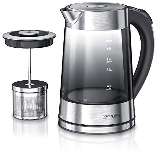 Arendo 722304566722 szklany czajnik elektryczny z regulacją temperatury i sitkiem do herbaty
