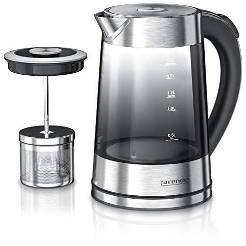 Arendo - Glas Wasserkocher mit Temperatureinstellung und Teesieb - Edelstahl Teekocher – Rauchglas mit Verlauf - Einstellbare Temperaturauswahl 40°C, 70°C, 80°C, 100°C - 1,7 Liter - GS - BPA-frei