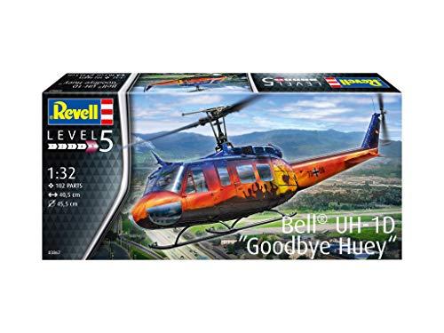 Revell 03867 Bell UH-1D Goodbye Huey, Helikoptermodell 1:32, 40,5 cm originalgetreuer Modellbausatz für Experten, unlackiert
