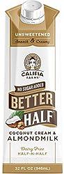 Califia Farms Unsweetened Better Half Coffee Creamer, 32 Oz | Coconut Cream and Almondmilk | Half &