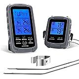 Termómetro Cocina para Carne Horno Parrilla Ahumador BBQ Barbacoa Inalámbrico Digital Pantalla Retroiluminado LCD Dual Sondas Temperatura de Alarma