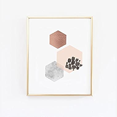 Scandinavian Hexagon Wall Art - Blush Marble and Copper