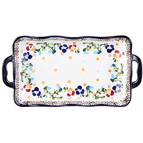 Utensilios de cerámica para hornear orejas dobles, horno microondas, arroz al horno, barbacoa, plato hondo (Color : White, Size : 10.78 * 6.69 * 1.45inch)