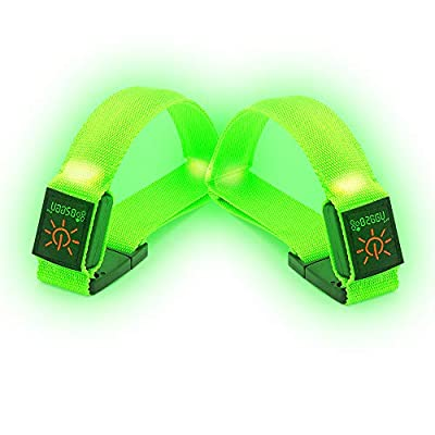 BSEEN 1 Pack for 2 PCS LED Armband, Running armabnd, led Bracelet Glow in The Dark-Safety Running Gear.Use (Fluorescent Green)