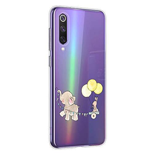 Oihxse Animal Serie Case Compatible con Samsung Galaxy J3 2018 Funda Transparente Suave Silicona Elefante Conejo Patrón Protector Carcasa Ultra-Delgado Creativa Anti-Choque Cover (A10)