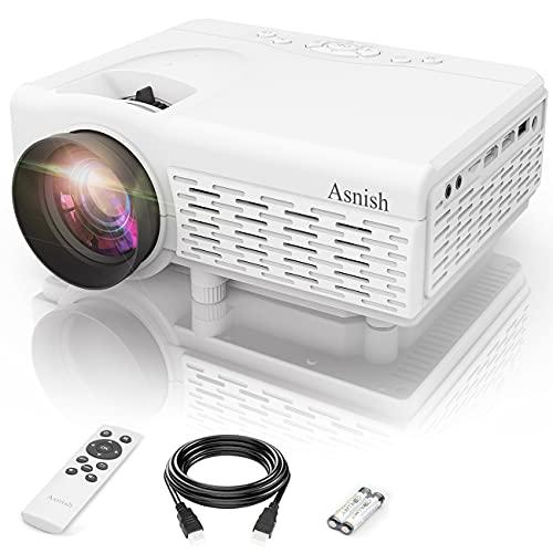 Mini proyector Asnish portátil Bluetooth, proyector de cine en casa con 50,000 horas de duración de la lámpara LED, alta definición completa de 1080P compatible, compatible con TV Stick, interruptor, portátil, PS5, TF, USB, VGA, HDMI (blanco)