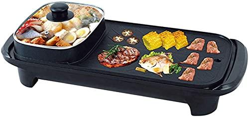 Pan Grill Elettrico con Pentola Hot, 2 in 1 Elettrico Grill per barbecue Elettrico Griglia e Pot Hot Pot BBQ Frying Pan Grill Grill Zuppa antiscivolo 1360W