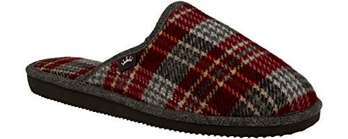 RBJ leather shoes .Herren Natur Wollfilz Pantoffeln für Wohlgefühl atmungsaktiv, natürlich, Handarbeit, Qualität Hausschuhe.(46 EU, Burgunder 823)