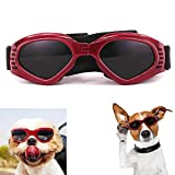 Dog Goggles, Puppy Sunglasses Anti-UV Eye Protection Goggles Waterproof Windproof Anti-Fog for Small/ Medium Pet Sunglasses(Red)