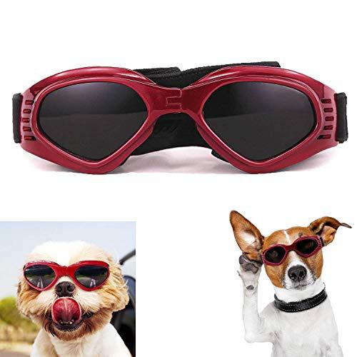 XUNKE Gafas de Sol para Perros, Perro Gafas para Perros pequeños y medianos Impermeable Plegable Protector Ocular Protección UV Antivaho (Red)