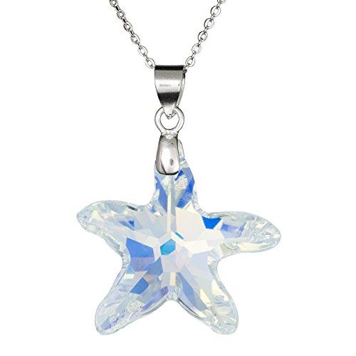 Halskette mit Anhänger, Sterlingsilber 925, Swarovski-Kristall, Seestern, transparent, verstellbar, 40,6 cm + 5,1 cm (16 + 2 Zoll) Verlängerung