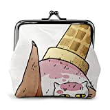 Melting Ice Cream Cat Monedero monedero para mujer con tarjetero, monedero de mano