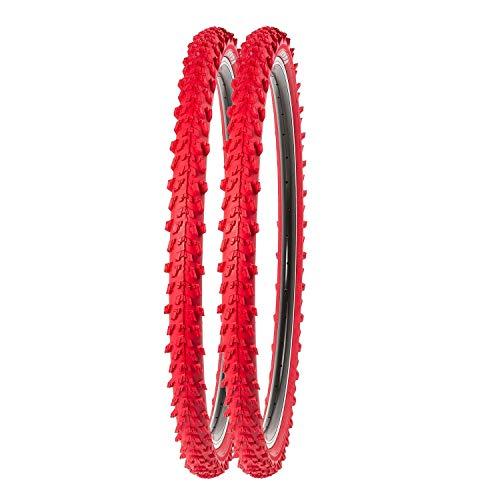 P4B | 2X 24 Zoll MTB Fahrrad Reifen | Sehr guter Grip in Allen Situationen | Hohe Laufruhe | 24 x 1.95 | 50-507 | Für Mountainbike | 24 Zoll Fahrrad Mantel in Rot
