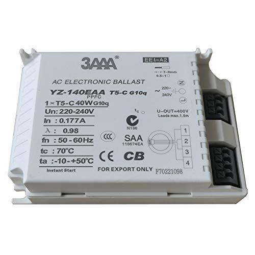 Balastro electrónico de 220-240 V 3AAA YZ-140EAA con encendido instantáneo, balastro electrónico para lámparas 1XT5-C 40 W G10q, CCC CB SAA