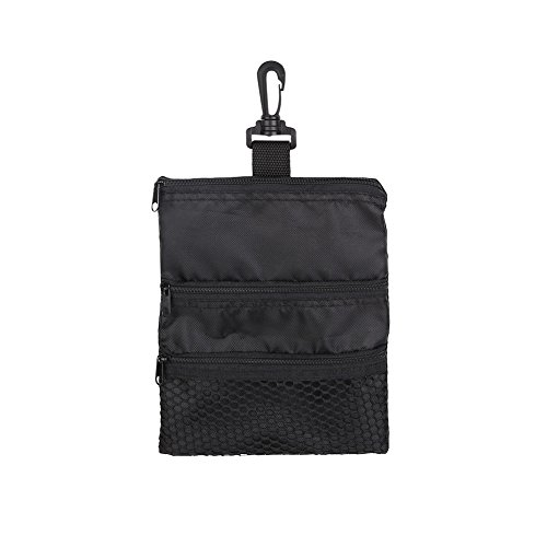 Keenso Golf Ball Bag, Oxford Portable Multi-Pocket Golf Bag Accessories, Black Zipper Handbag for Storing Golfball and Accessories