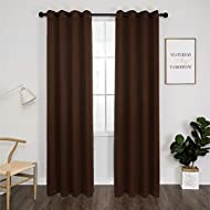 """Thermal 100% Blackout Grommet Curtain for Room,Double-Layer Multi-Function Noise Reducing Performance Drapes with Black Lining, Full Light Blocking Drapery Panels,1 pair,52""""x84"""", Cocoa Brown"""