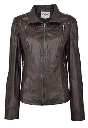 COCO BLACK LABEL since1986 Klassische Damen Lederjacke aus handschuhweichem Lamm Nappa Leder Jacke Lea, Farbe:Aubergine, Größe:42