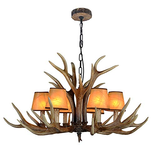 ADFD rustieke lamp met hertengewei, opvallende lampenkap, gewei design kroonluchters (6 lampen)
