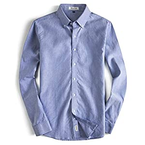 Men's Oxford Dress Shirt-Cotton Casual Regular Fit Long Sleeve Shirt