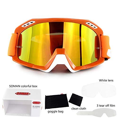 SAMFYAII Motocross Brille, Motorrad Brille, Bunte Linse, Atmungsaktiv Winddicht Staubdicht für Motorrad Motocross Im Freien,Orange