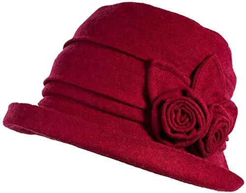 ACIL Ladies Wool Cloche Hat for Women Winter Bucket Round Hat Vintage Derby Party Bowler,16076_Burgundy,M