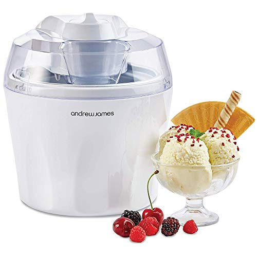Andrew James Ice Cream Maker Machine | Makes Delicious Soft Ice Cream | Detachable Mixing Paddle | 1.5L | Voted Best Buy by Which? Magazine | White