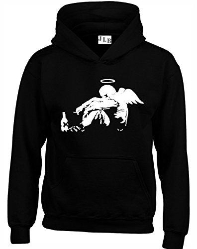 JLB Print Drunken Angel Silhouette Straßenkunstler Inspiriert Hochwertige Unisex Hoodies fur Manner Frauen und Jugendliche - Schwarz/X Groß