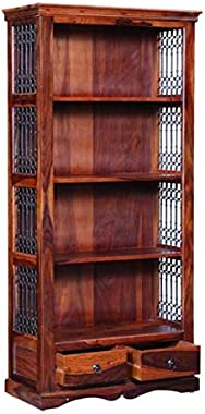 PIPERCRAFTS Sheesham Wood Solid Wood Book Shelf Display and Storage Unit 4 Tier and 2 Drawers Bookcase Finish Color - Honey O