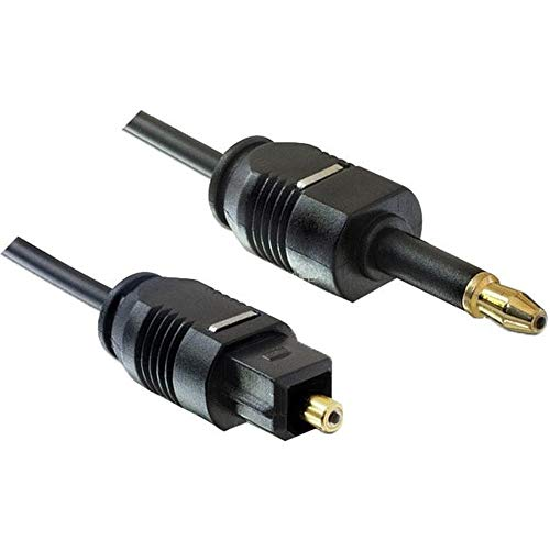 PremiumCord Optisches Audiokabel Mini Toslink 3,5mm auf Toslink - 2m, Stecker auf Stecker, Digitalkabel für Stereoanlage HiFi Sounbar TV, HQ Audio, Vergoldet, Farbe Schwarz