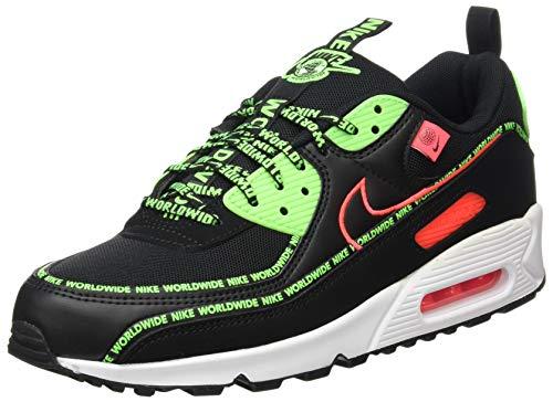 Nike Air MAX 90 WW, Zapatillas de Running Hombre, Black Flash Crimson Green Strike White, 42 EU