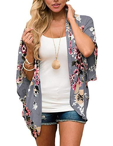 Zexxxy - Cardigan estivo da donna, motivo floreale, in chiffon, maniche a 3/4, kimono, copricostume da spiaggia Grigio scuro XL