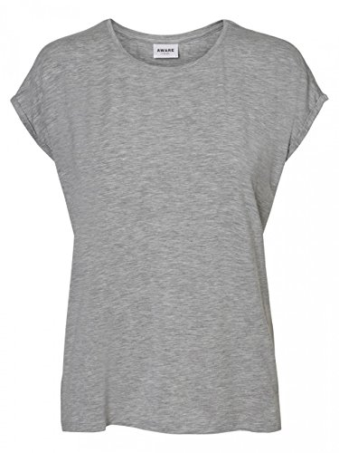 Vero Moda NOS Damen Vmava Plain Ss Top Ga Noos T-Shirt, Grau (Light Grey Melange), 34 (Herstellergröße: XS)