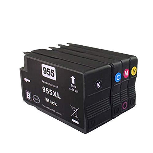 955XL Cartucho de tinta fabricado, reemplazo compatible para la impresora HP OfficeJet serie 8702 7740 8210, asistente de oficina, negro, amarillo, cian, magenta, 4 piezas