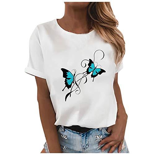 HWTOP Tshirt Damen Kurzarm Sommer Oberteile Oversize Tshirt lose Bluse Laufshirt Sportshirt Einfachheit Tee Tops Damen Shirt Weiß # 06 M