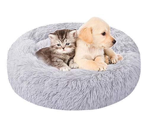 Voqeen Letto per Animali Domestici Cuccia per Gatti Letto per Cani Rotondo Grande Peluche Ultra-Morbido da Interno Divano Velluto Cuscino Reversibile Lavabile in Lavatrice Cuscino Antiscivolo